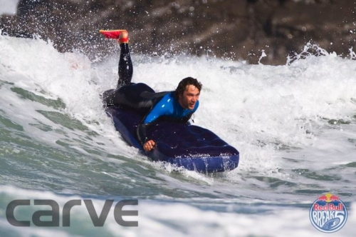 Sandymouth Surf Schools Senior Instructor Robin gets a few on his matress
